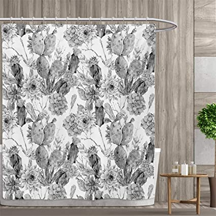Smallfly Cactus Custom Made Shower Curtain Boho Chic Style Monochrome Flowers And Feathers Exotic Botanical