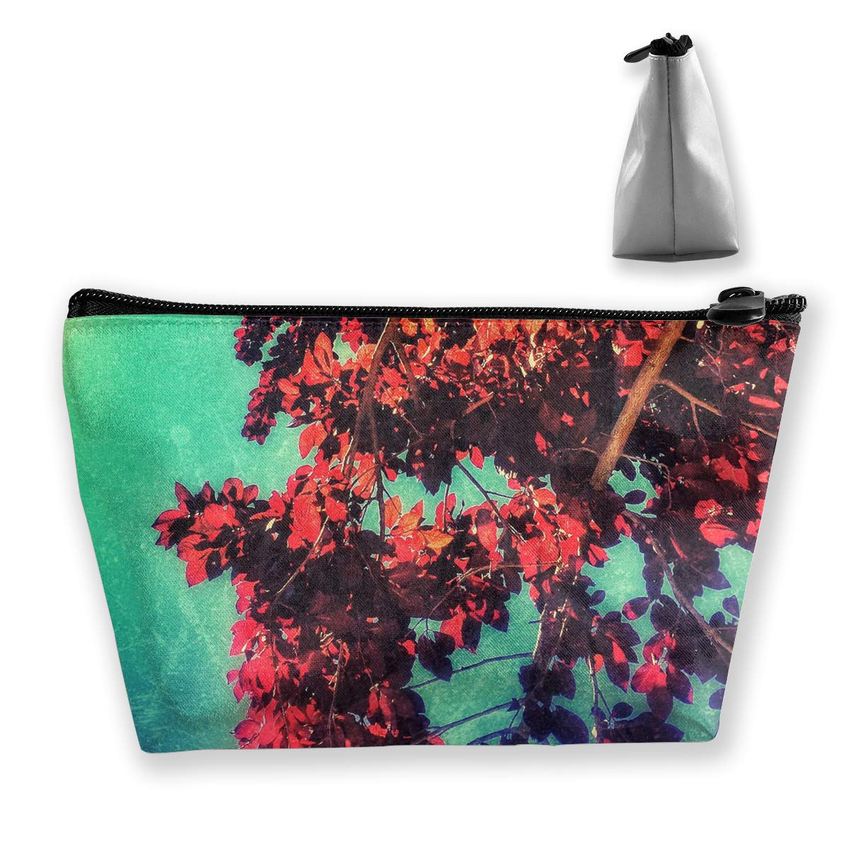 Trapezoid Toiletry Pouch Portable Travel Bag Leaves Tree Zipper Wallet