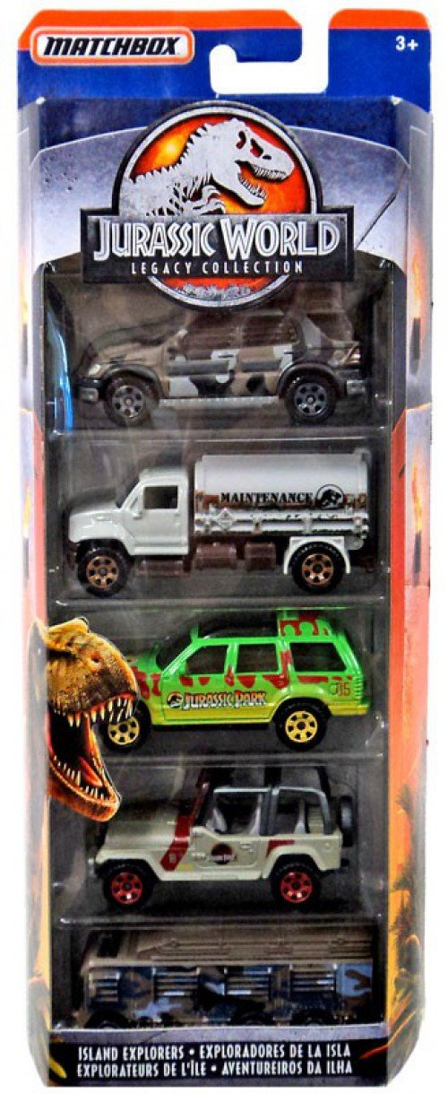 MATCHBOX JURASSIC WORLD LEGACY COLLECTION 5 PACK SET, JEEP WRANGLER, FORD, MERCEDES-BENZ