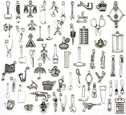 65 Pcs Wholesale Life Tools Theme Bulk Lots Silver Charms Mixed Smooth Tibetan Silver Plated Silver Metal Charms Pendants Diy For Necklace Bracelet Jewelry Making And Crafting Amazon Co Uk Kitchen Home