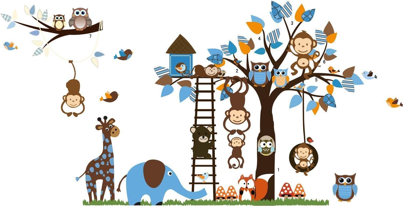 Jungle Zoo: Búho en árbol con la jirafa y el león entre los niños ...