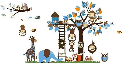 59 opinioni per Rainbow Fox Tatuaggi adesivi da parete Jungle Zoo: Gufo sull'albero con giraffa