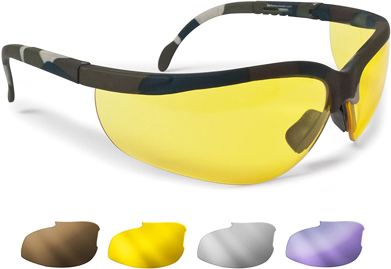 BERTONI Gafas Protectoras Balistica Tacticas - Gafas de Tiro Caza para Disparar y Softair con 4 Lentes Anti-Vaho Incluidas Mod. AF159A Mimetico Militar