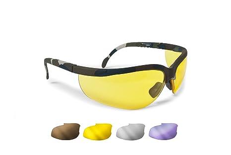 BERTONI Gafas Protectoras Balistica Tacticas - Gafas de Tiro Caza para Disparar y Softair con 4 Lentes Anti-Vaho Incluidas Mod. AF159A Mimetico ...