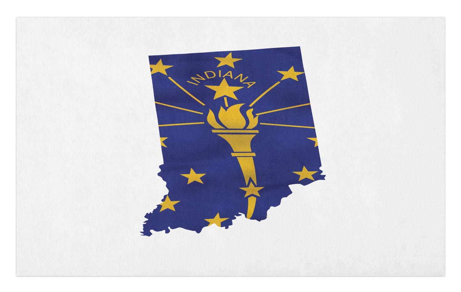 Lunarable Indiana Doormat, Hoosier State Map with Waving Flag Liberty Torch and Rays with Stars, Decorative Polyester Floor Mat with Non-Skid Backing, 30 W X 18 L Inches, Earth Yellow Cobalt Blue