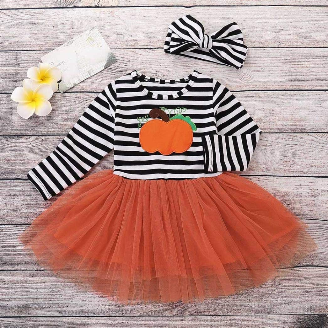 Vinjeely 3pcs Halloween Baby Girls Letter Pumpkin Skull Print Romper+Pants+Hat Outfits Clothes