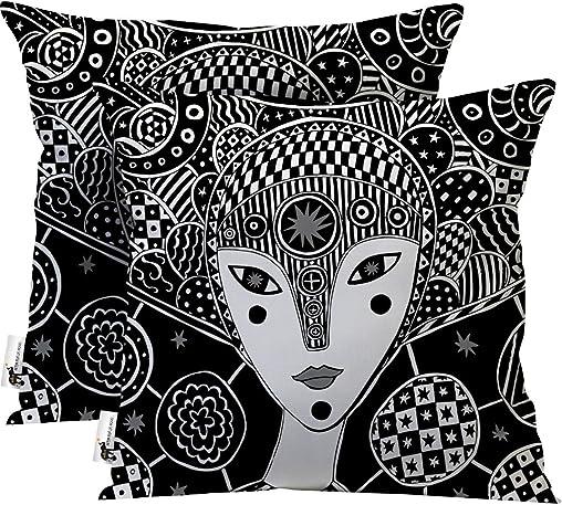 UBU Republic Handmade Bohemian Throw Pillows – Set of 2 – Artsy Black Furniture Pillows – Mokosha 16X16