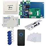 Single Door TCPIP Access Control Panel System Kit Strike NO Lock RFID Reader Power Supply Push