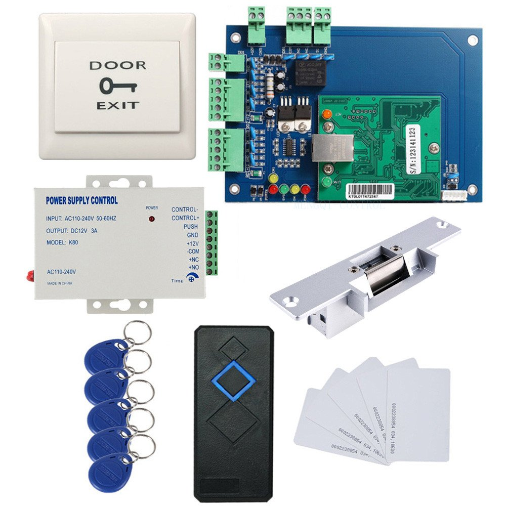 Single Door TCPIP Access Control Panel System Kit Strike NO Lock RFID Reader Power Supply Push to Exit Button