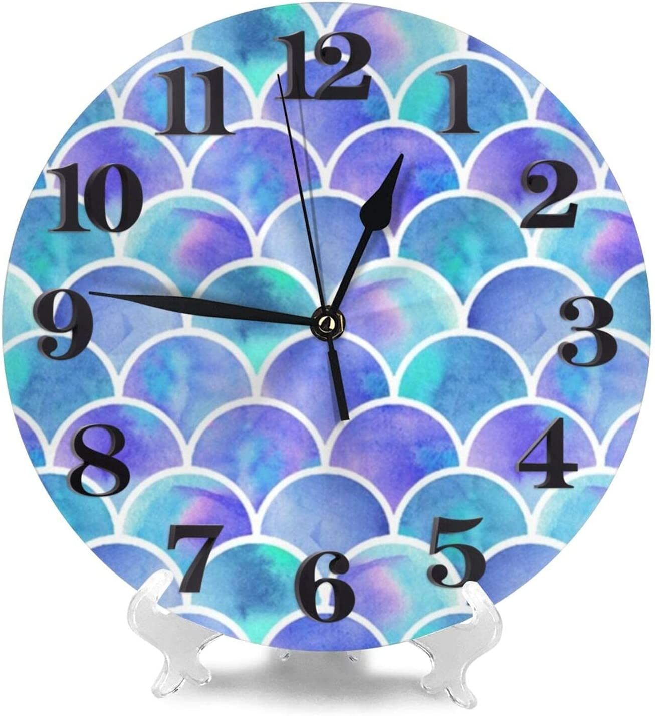 Mermaid Scale Wall Clock Silent Home Decor Battery Operated Non Ticking 10 inch Diameter for Bathroom Bedroom Kitchen Living Room