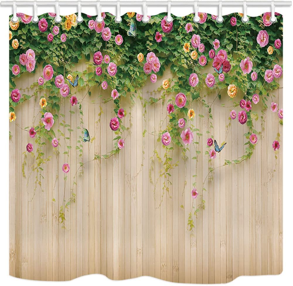 Floral Shower Curtains By JAWO 3D Rosemary Flower with Butterfly on Rustic Wooden Background Bath Curtains, 69X70 Inches, Garden Shower Curtains, Beige Pink Green