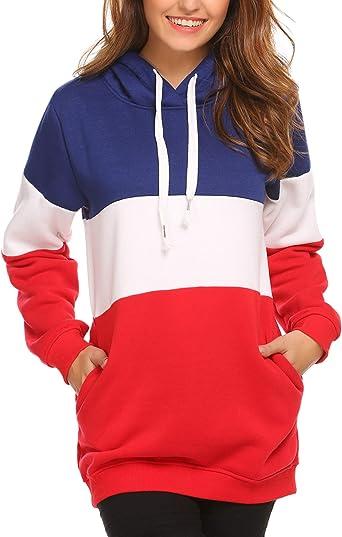 Misakia Women Warm Hooded Contrast Color Patchwork Fleece Lined Pullover Hoodie Sweatshirt