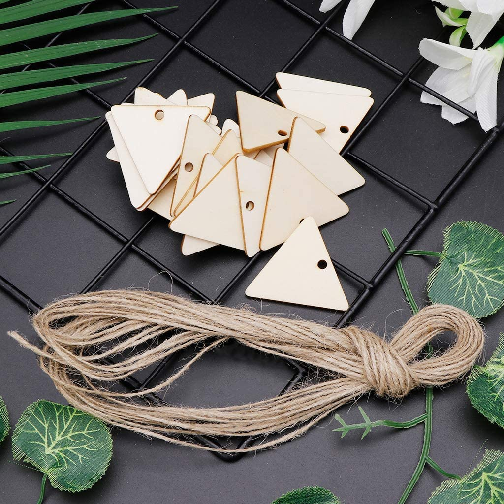 Simdoc 25pcs DIY Triangle Hanging Tags with Hemp Rope,Natural Wood Chips for Wedding Party Favor Cards Decoration Gift