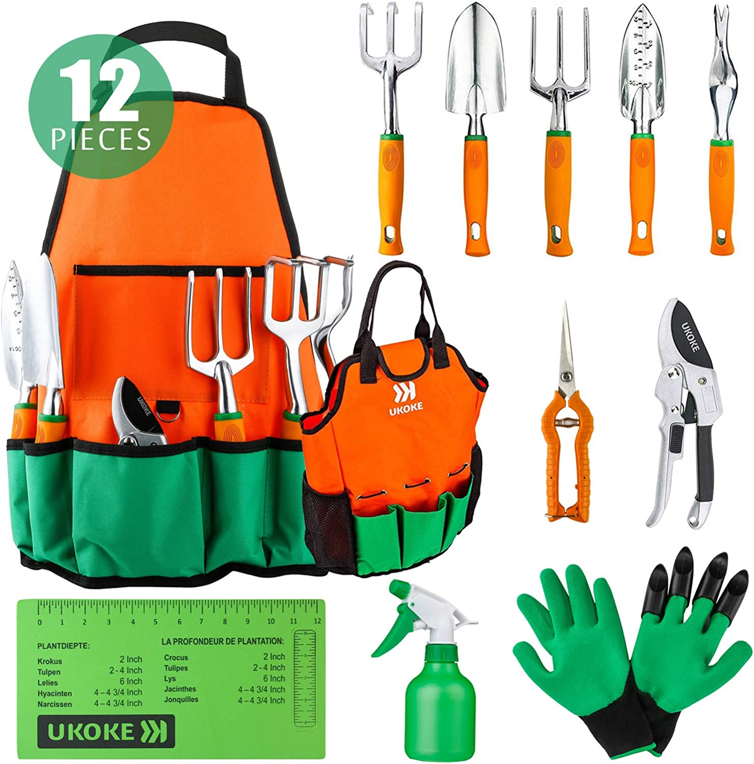 UKOKE Garden Tool Set, 12 Piece Aluminum Hand Tool Kit, Garden Canvas Apron with Storage Pocket, Outdoor Tool, Heavy Duty Gardening Work Set with Ergonomic Handle, Gardening Tools for women men : Garden & Outdoor