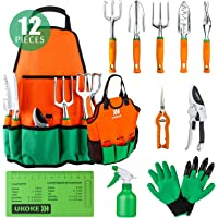 UKOKE UGP02G Aluminum Hand Gardrn Tool Kit, Orange, 12 Piece