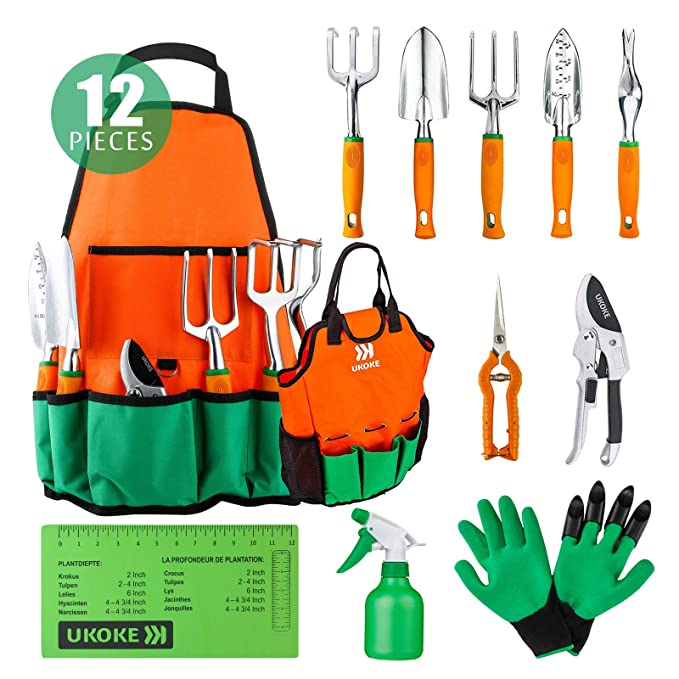UKOKE Garden Tool Set, 12 Piece Aluminum Hand Tool Kit, Garden Canvas Apron with Storage Pocket, Outdoor Tool, Heavy Duty Gardening Work Set with Ergonomic Handle, Gardening Tools for women men best gardening gifts