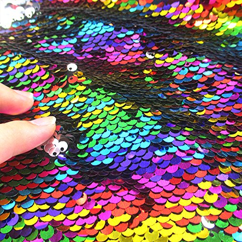 Sequins Sewing Fabric Mermaid Flip Up Sequin Reversible Sparkly Fabric 1 Yard Rainbow /& Silver for Dress Clothing Making Home Decor 36 x 47