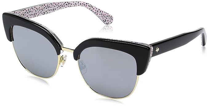 ef5d3bdd1bb7 Kate Spade Women's Karri/s Cateye Sunglasses, Pattern RED/Black Mirror, 53