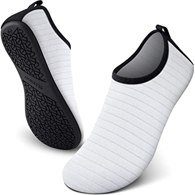 SEEKWAY Unisex Water Sports Shoes Barefoot Aqua Socks Slip-on Indoor Outdoor Activities SK001 704 Stripe White 6-7 | Water Shoes