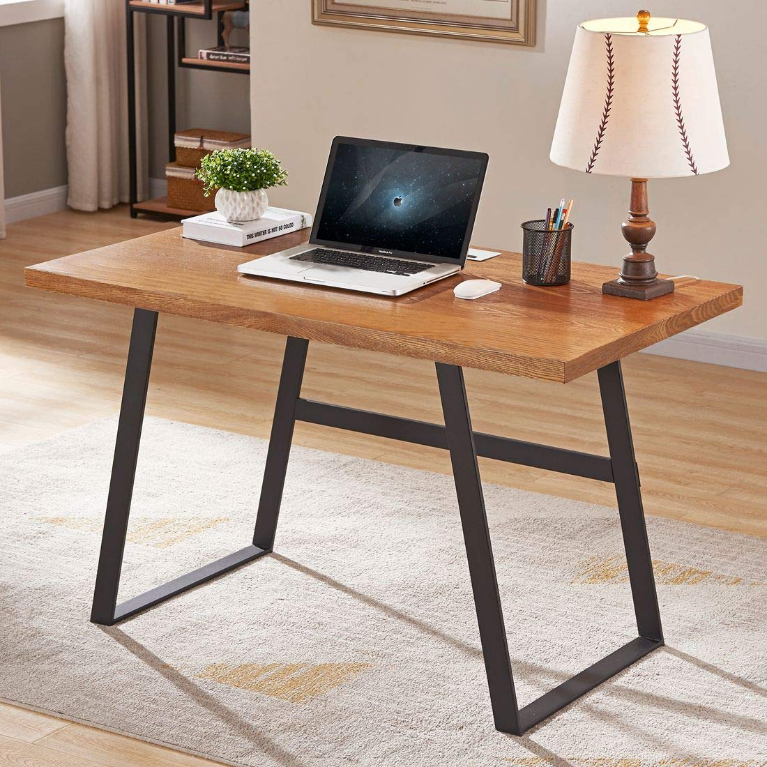 BON AUGURE Wood Computer Desk for Home Office, Rustic Writing Desk, Industrial Desk Table (47 inch, Mahogany) by BON AUGURE