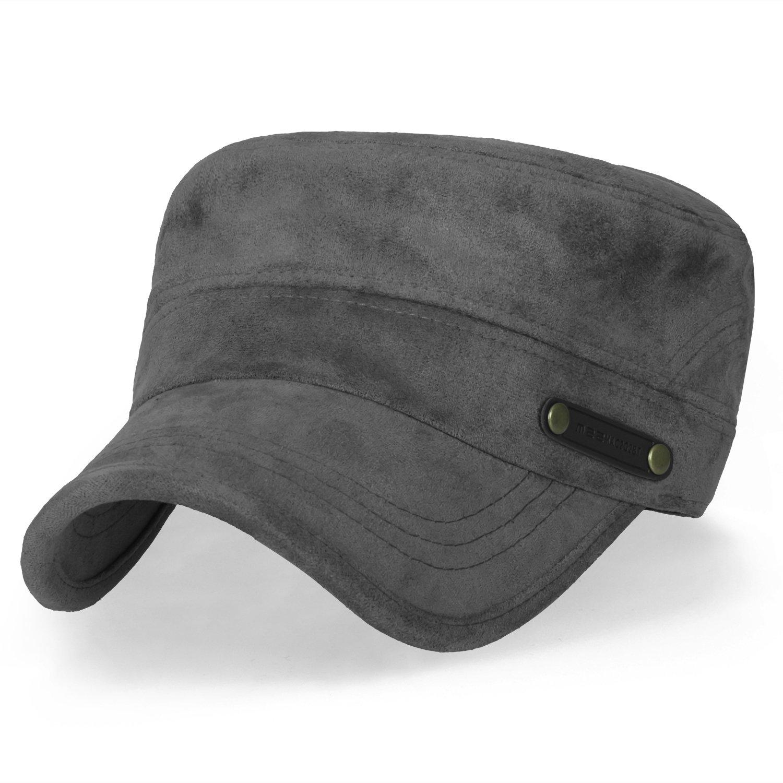 ililily Women Solid Color Military Army Hat Velour Flex Fit Cadet Cap, Dark Steel Grey
