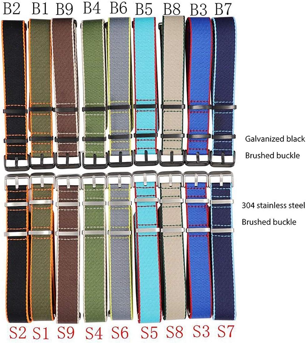 20mm/22mm Bracelet en Nylon et Toile imperméable et résistant à la Sueur du Bracelet Montre Style Militaire Montre Accessoires Type B9