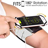 VUP Cell Phone Armband for Workout Biking Walking for iPhone X 8 Plus 8 7 Plus 7 6 Plus 6 6S, Galaxy S8 S7 S5, Google Pixel, Adjustable Reflective Band Running Armand with Key Holder(Silver)
