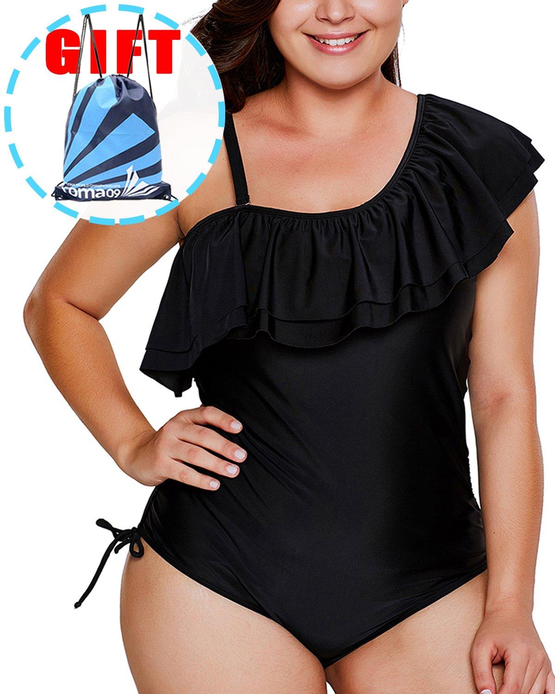 Garlagy Women's One Piece Swimsuits Plus Size Monokinis Swimwear Athletic Tankini Bathing Suit Bikini ((US 20-22) XXXL, B-Black Frill)