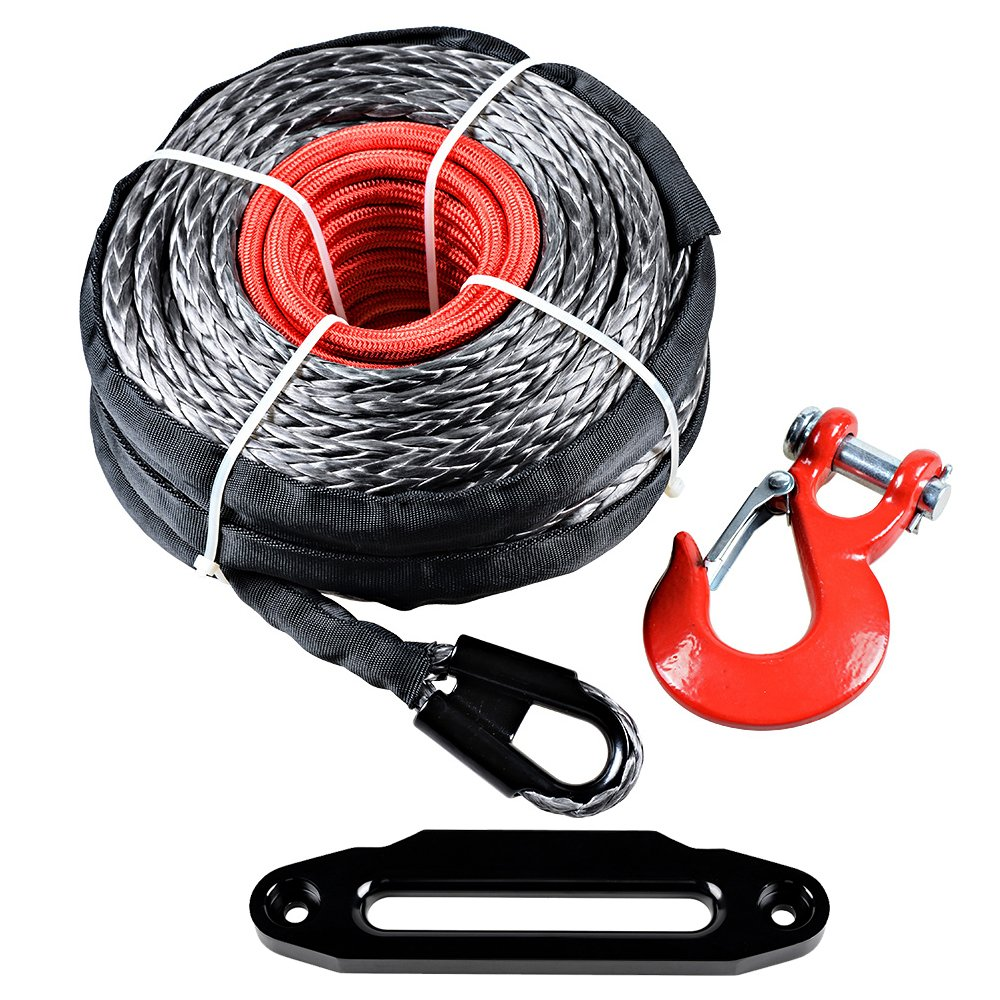 95' x 3/8'' Black Synthetic Winch Rope Recovery Cable + Red Hook + 10'' Red Hawse Fairlead (Black)