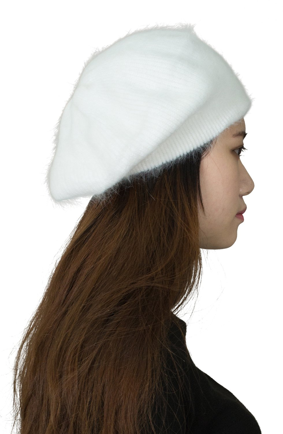 CapHouse Fine Ribbed Womens Angora Knit Winter Beanie Hat,Cream by CapHouse (Image #1)