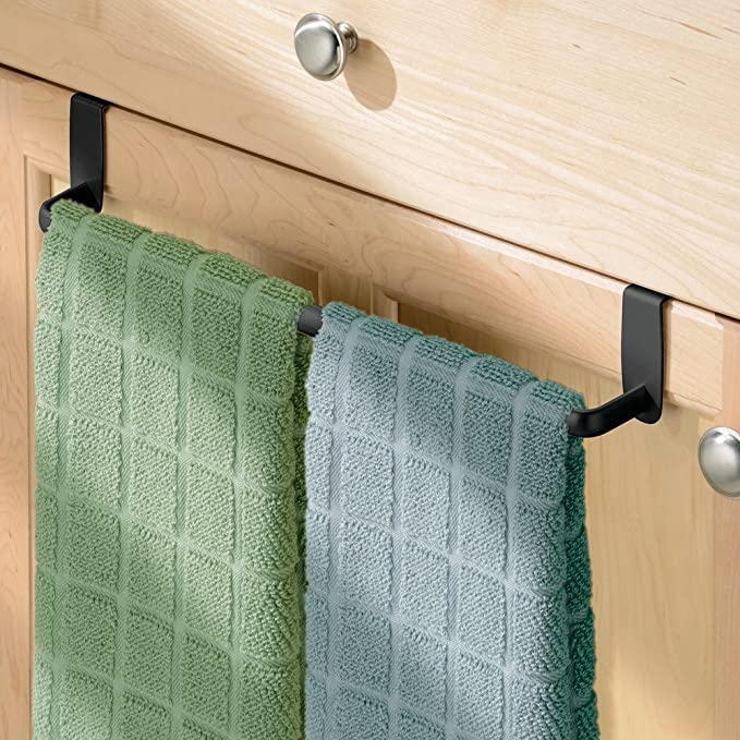 InterDesign Axis Toallero para paños de cocina, gran perchero para puerta en metal, toallero sin taladro para baño y cocina, negro mate: Amazon.es: Hogar