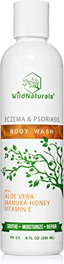 Wild Naturals Eczema Body Wash : With Manuka Honey + Aloe Vera, for Sensitive Skin, Unscented Antibacterial Anti Itch Healing Psoriasis Soap, Dry Skin Relief, Antifungal Moisturizing and Sulfate Free