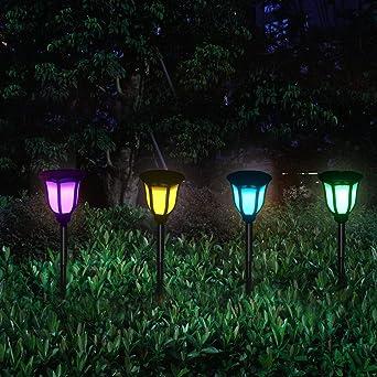 Luces solares para exteriores, energía solar, jardín, camino, flores, paisaje, decoración, impermeable, con modo de cambio multicolor y modo de color fijo, 4 piezas: Amazon.es: Iluminación