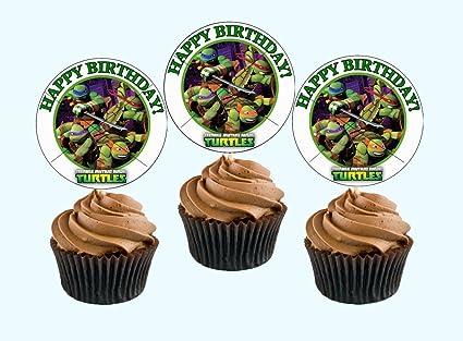 Amazon.com: 12 Happy Birthday NINJA TURTLE TMNT Inspired ...