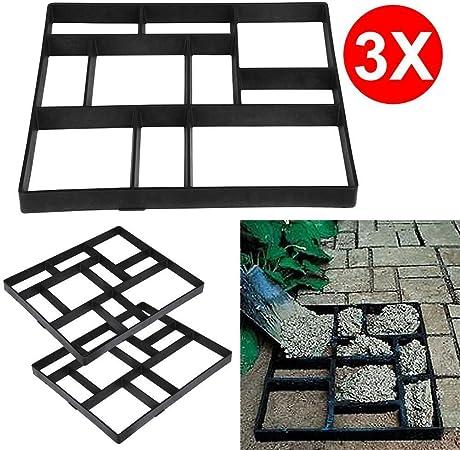 go2buy 3PCS Paving Pavement Concrete Mould Stepping Stone Mold Garden Lawn Path Paver Walk,23.8 x 19.9 x 1.7/'/' LxWxH