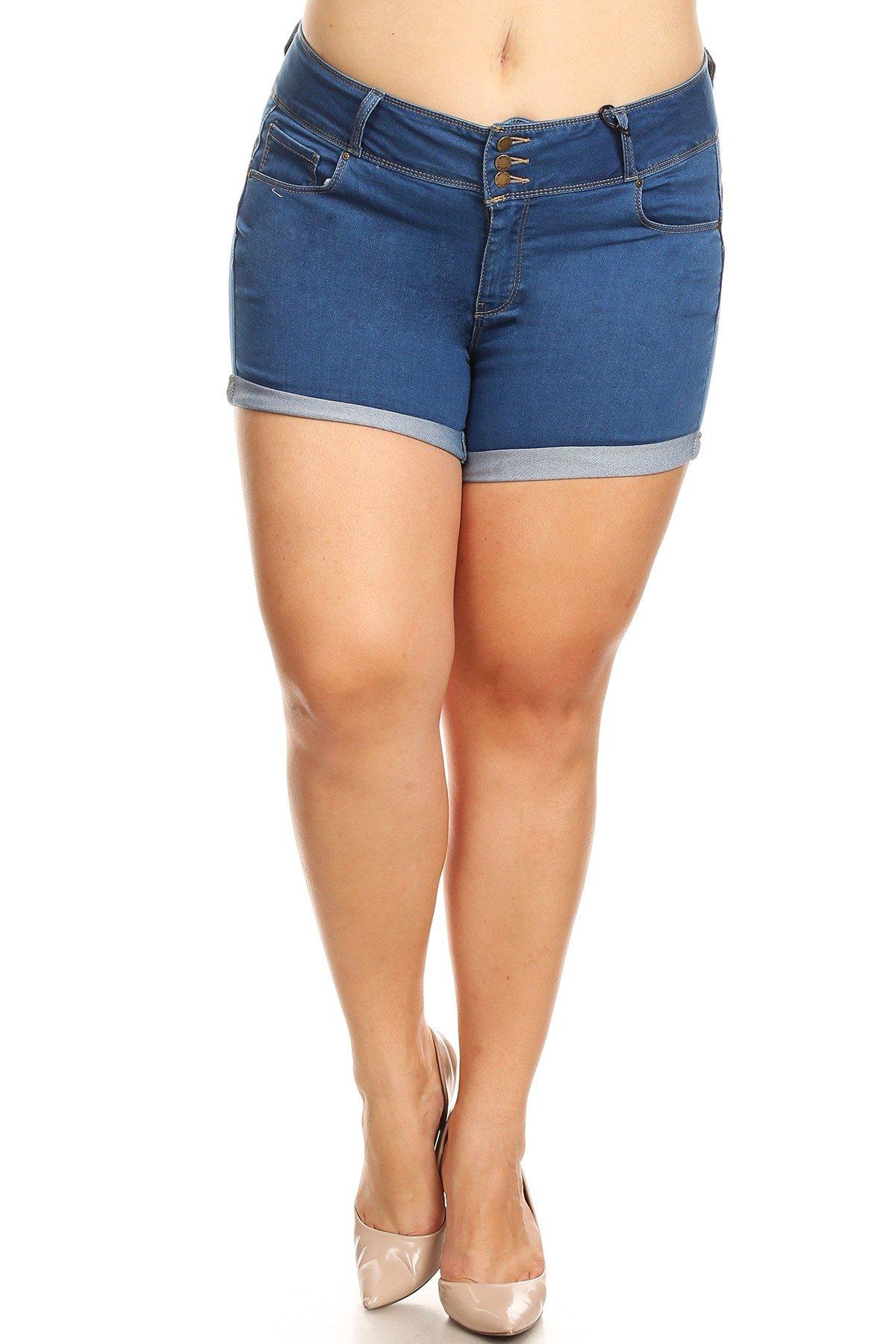 Women's Plus Size 3 Button High Waist Denim Jean Shorts (3XL, Medium)