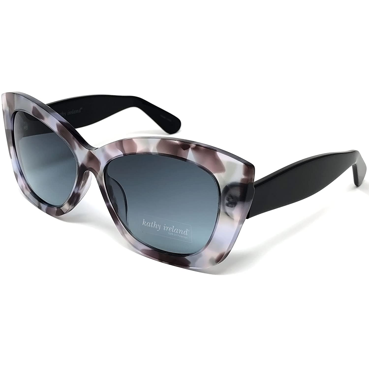 12b3046162 Amazon.com  Kathy Ireland Womens Acetate Flecked Cat-eye Sunglasses with  Ivory and Black Temple Frame and Gradient Smoke Lens  Sports   Outdoors