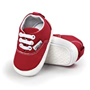 Baby Girls Boys Canvas Shoes Soft Sole Toddler First Walker Infant High-Top Ankle Sneakers Newborn Crib Shoes (S: 4.25 inch(0-6 Months), B-Red)