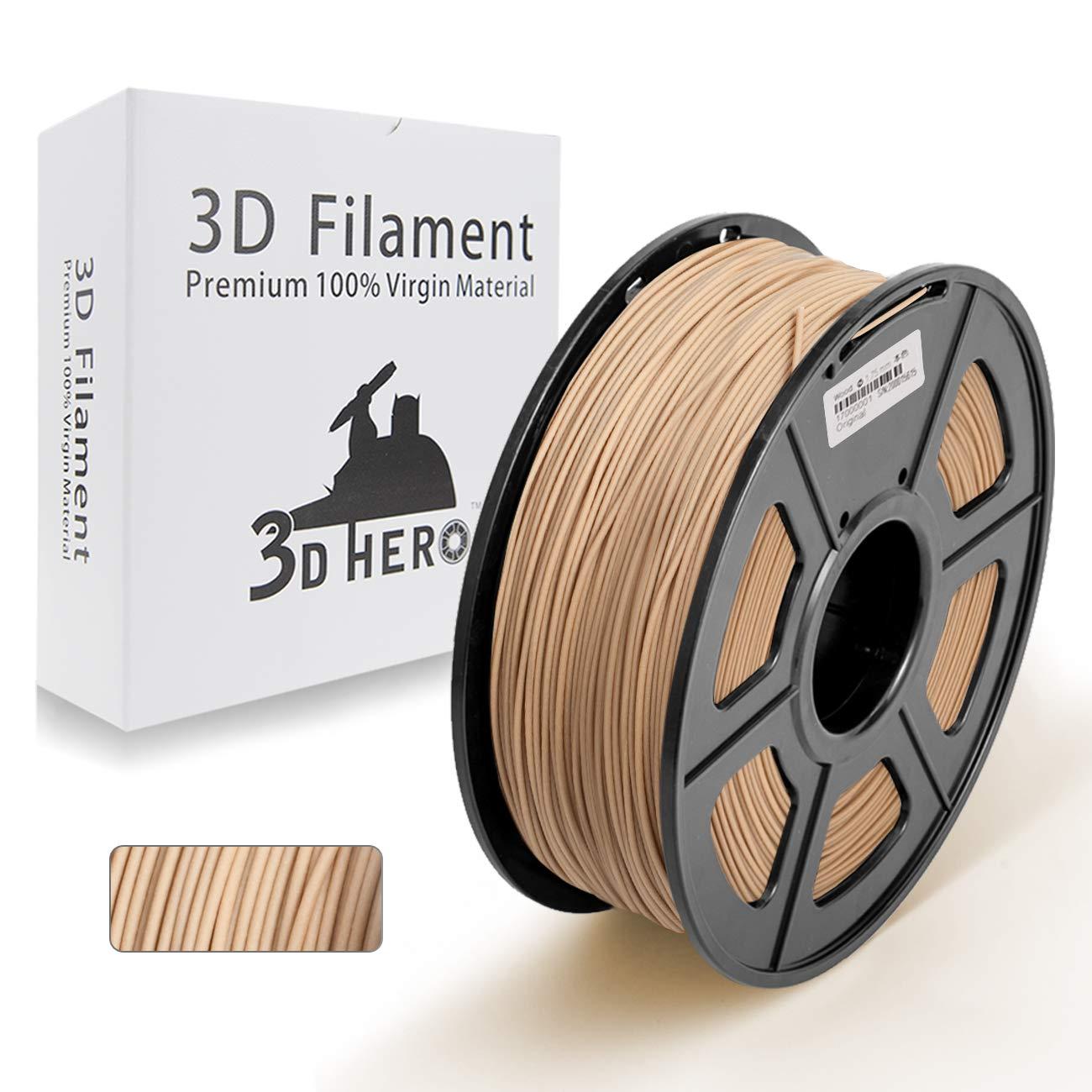 Real Wood 3D Printer Filament- PLA Wood 1.75 mm Filament,1kg(2.2lbs) Spool, Dimensional Accuracy +/- 0.02 mm,NO Clogging
