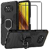 EasyLifeGo Funda para Xiaomi Poco X3 NFC/Xiaomi Poco X3 Carcasa Protector de Pantalla de Cristal Templado [2 Piezas] Rugged A