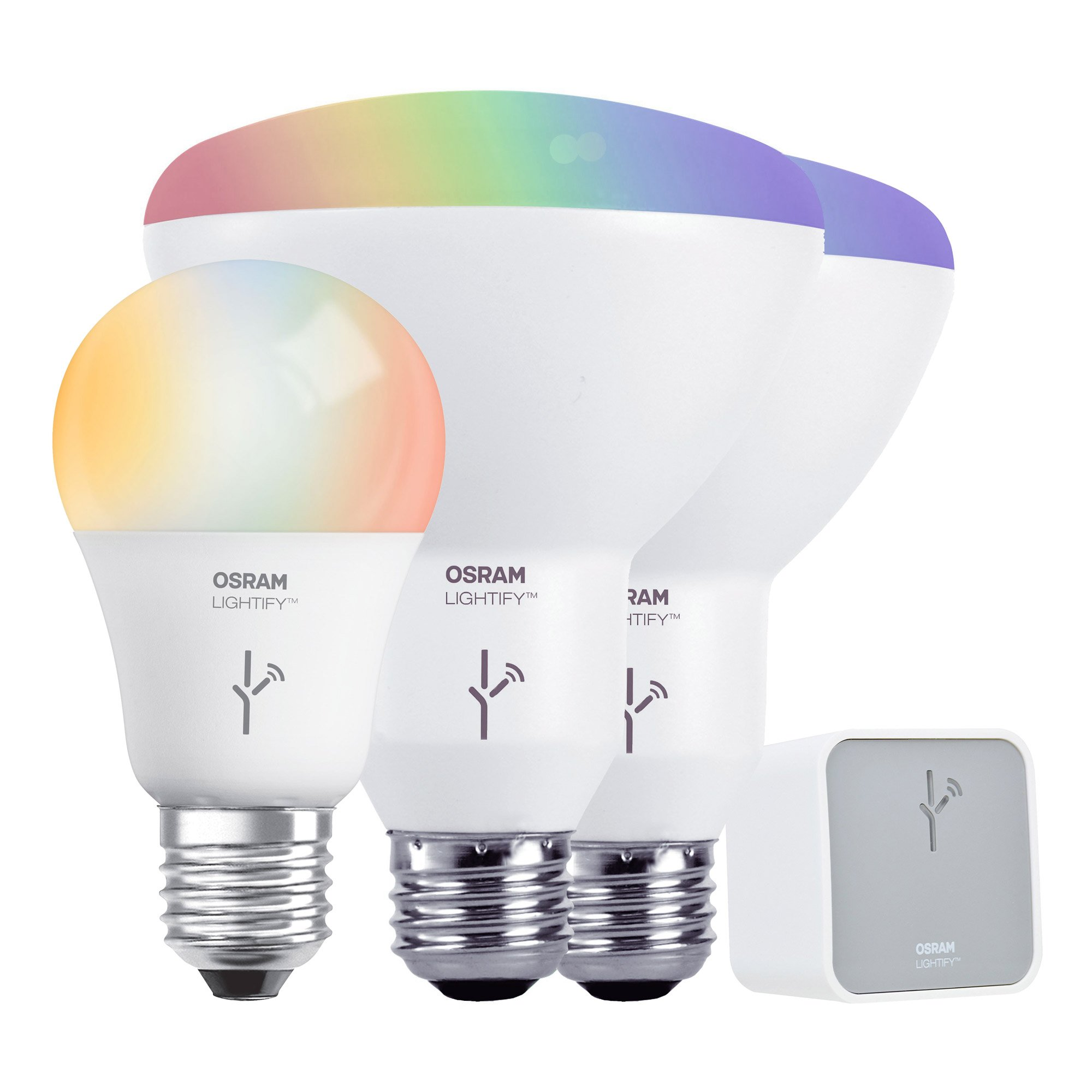 SYLVANIA LIGHTIFY by Osram - Smart Home LED Starter Kit - Includes: (1) A19 RGBW 60W, (2) BR30 RGBW 65W, (1) Gateway by Sylvania Smart Home