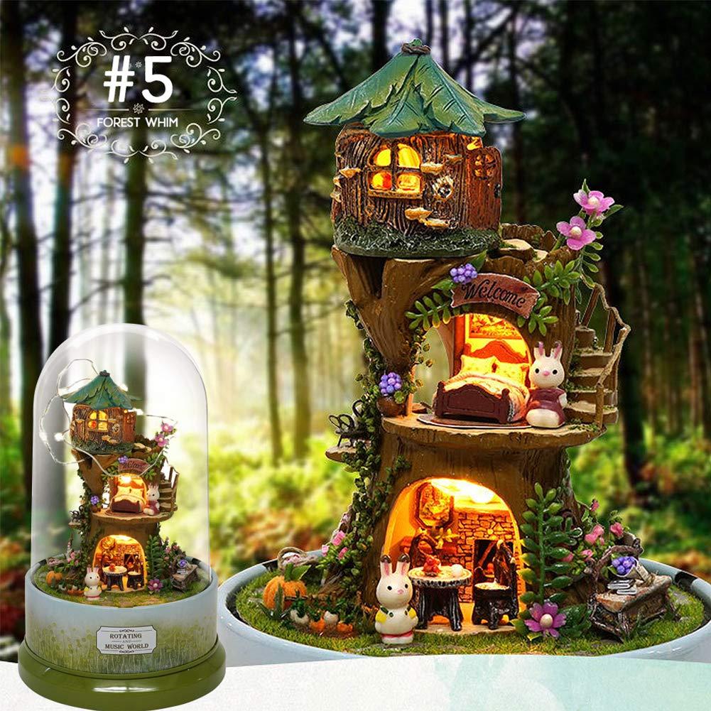 OUYAWEI Music Dollhouse Cabine tournante DIY Maison de poup/ée avec Couvercle Transparent Bo/îte /à Musique pour Enfants Cadeau de No/ël B-026