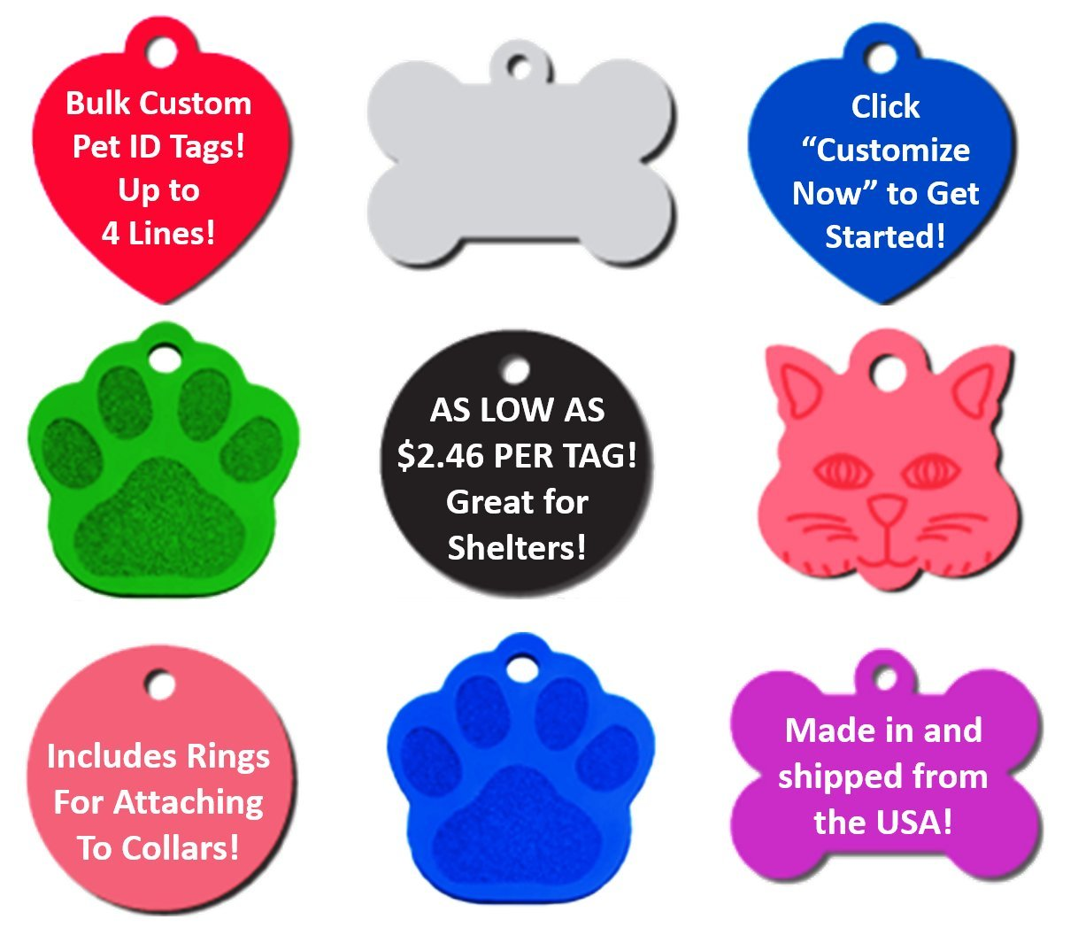 Bulk Personalized Pet ID Tags for Rescues, Shelters, Humane Societies | As Low As $2.46 Per Tag! (25-Pack ($2.96 per tag)) by TAGSGALORE