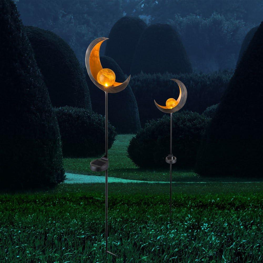 2er Set LED Solar Leuchten Au/ßen Beleuchtungen Dekoration Steck Lampen Mond Design