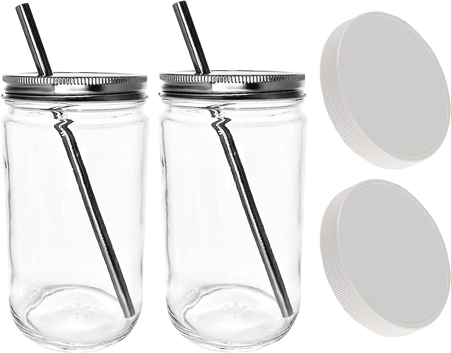 Reusable Smoothie Cup Extra Wide Mouth Glass Mason Jar 32oz with Smoothie Stainless Steel Straw/Smoothie Cup with Lid and Straw-includes Leak Proof Cap by Jarming Collections (2)