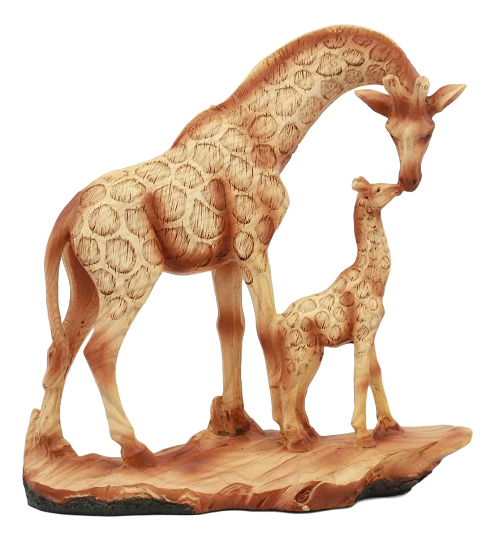 "Ebros Safari Giraffe Family Statue 6.75""Tall Faux Wood Resin Giraffe Mother and Calf in Wilfdlife Savanna Scene Figurine"