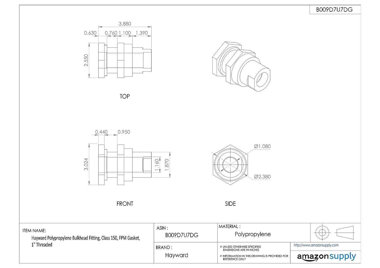 Socket x Threaded End 6 Size PVC with EPDM Seals Hayward BFA1060CES Series BFA Standard Flange Bulkhead Fitting