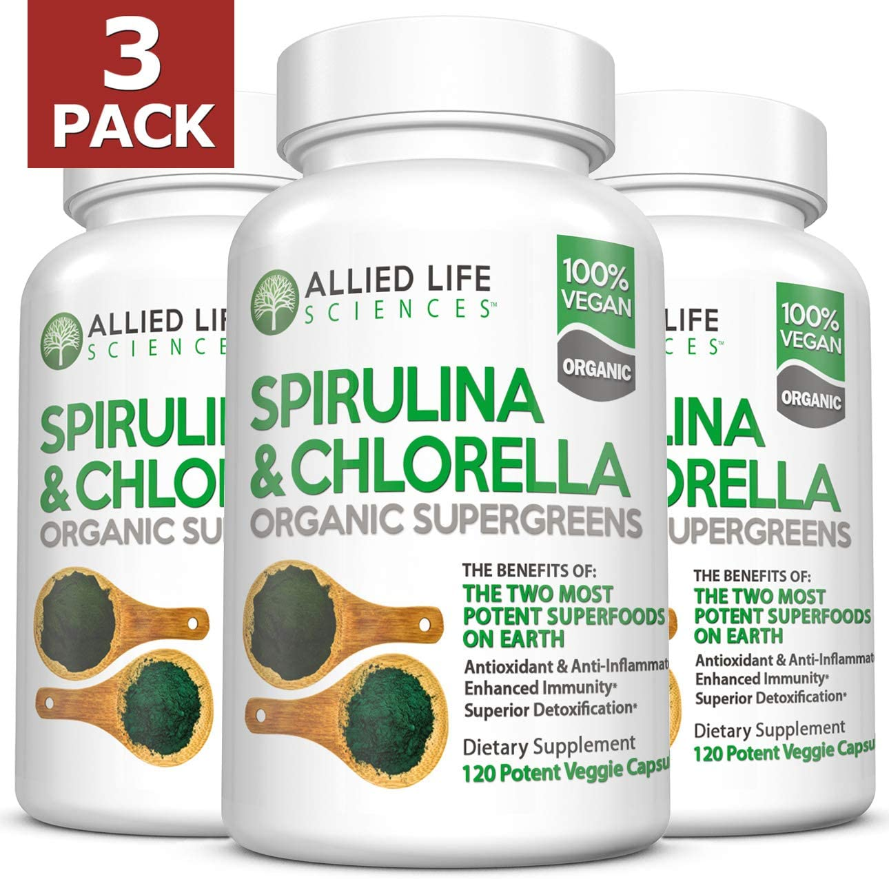 Allied Life Spirulina and Chlorella Organic Chlorophyll Vegan Protein Powder Green Superfood Capsules Natural Anti Aging Detox Cleanse 3 Pack