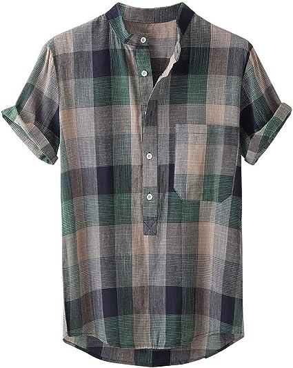 Briskorry - Camisa de manga corta para hombre, con bolsillo ...