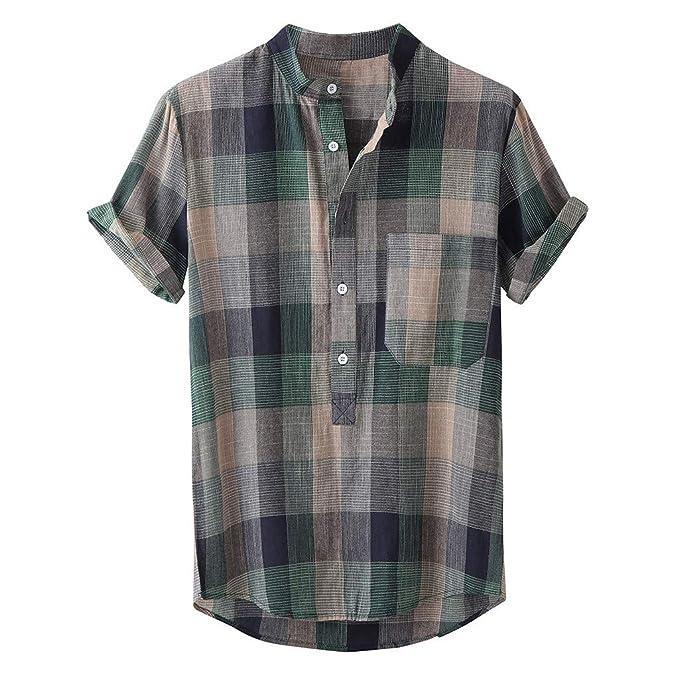 Amazon.com: Camisa a cuadros para hombre, manga corta ...